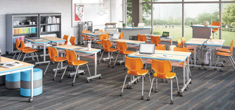 collaborative classroom with orange chairs