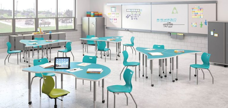 blue mix and match tables and chairs for collaborative learning