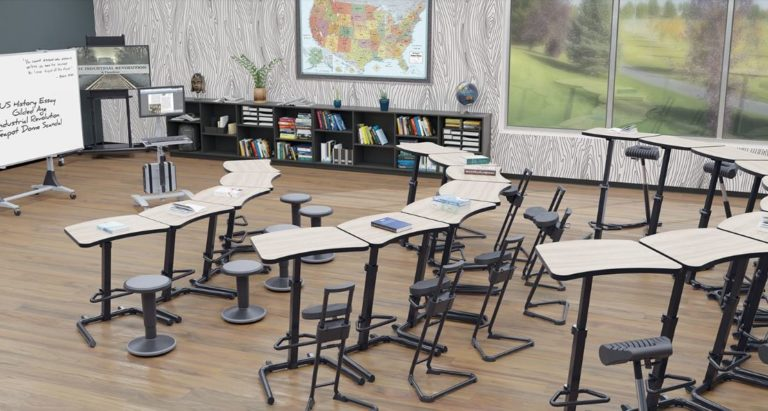 secondary education sit to stand seating options and desks