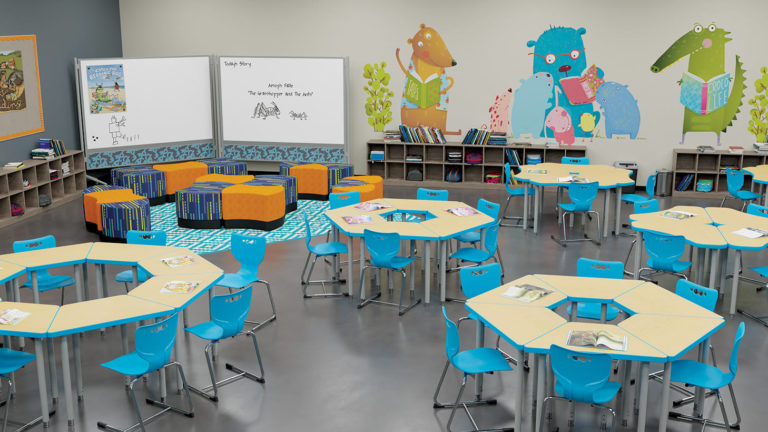 elementary school classroom furniture with soft seating and wall graphics