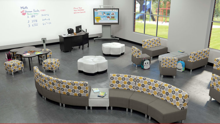 Modular soft seating for classroom environment, Education furniture solutions KC